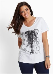 T-shirt, bpc selection, wit/zwart/goudkleur