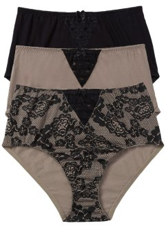 Tailleslip (set van 3), bpc bonprix collection, gedessineerd+taupe+zwart