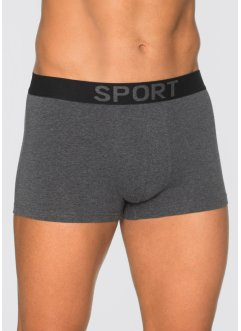 Boxershort (set van 3), bpc bonprix collection, antraciet gemêleerd/zwart
