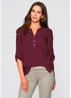 Blouse, bpc bonprix collection, ahornrood/wit gestippeld