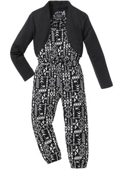 Jumpsuit+bolero (2-dlg. set), bpc bonprix collection, zwart/wolwit gedessineerd