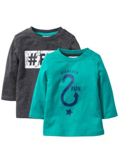 Longsleeve (set van 2), bpc bonprix collection, smaragd/antraciet gemêleerd