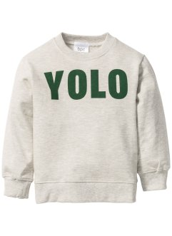 Sweatshirt, bpc bonprix collection, ecru gemêleerd/donkergroen YOLO