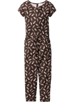 Jumpsuit, bpc bonprix collection, donkerbruin/roze poudre gedessineerd