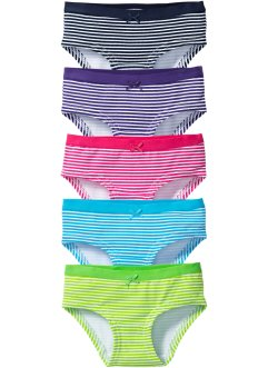 Tailleslip (set van 5), bpc bonprix collection, multicolor gestreept