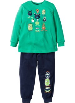 Pyjama (2-dlg. set), bpc bonprix collection, groen/donkerblauw