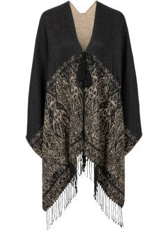 Poncho, bpc bonprix collection, zwart/beige