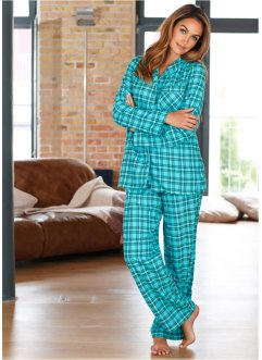 Pyjama, bpc bonprix collection, petrol geruit