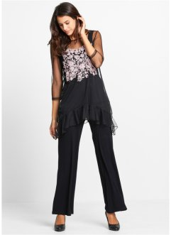 Shirt+top+broek (3-dlg. set), bpc bonprix collection, zwart gebloemd