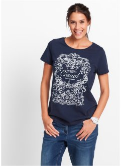 Shirt, bpc bonprix collection, donkerblauw met print