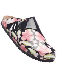 Clogs, bpc bonprix collection, zwart gebloemd