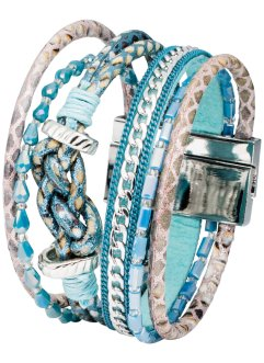 Armband, bpc bonprix collection, zilverkleur/blauw