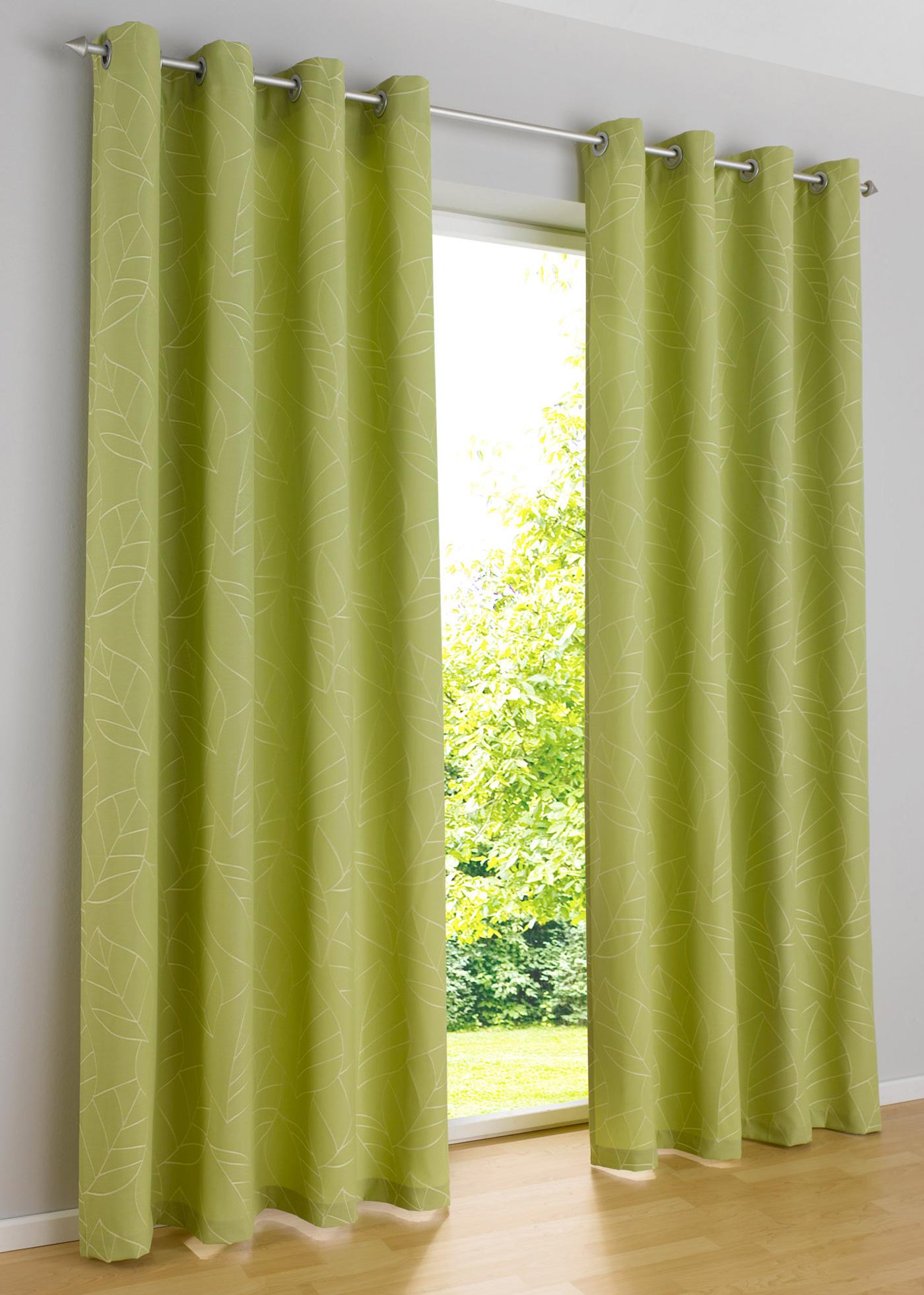 Зеленые шторы на люверсах фото