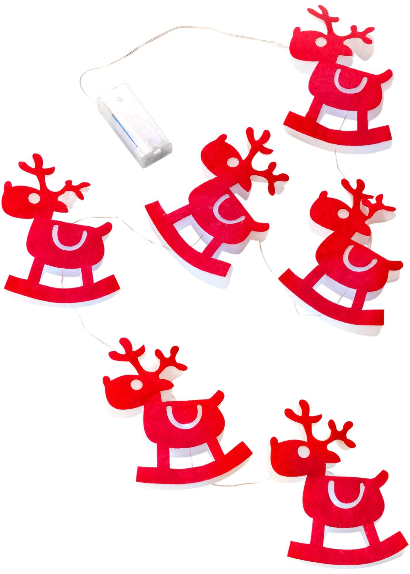 Mooie en decoratieve led lichtslinger in rendierdesign. elk rendier beschikt over een warm witte led en zorgt ...