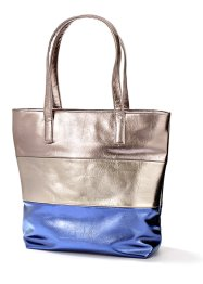 Shopper, bpc bonprix collection, bruin/zilverkleur/bruin metallic