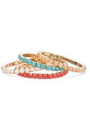 Armbanden (set van 4), bpc bonprix collection, turkoois/wit/nude/pink
