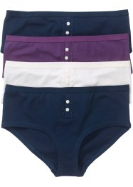 Tailleslip (set van 4), bpc bonprix collection, donkerblauw/prune/wolwit