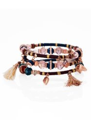 Armbanden (3-dlg. set), bpc bonprix collection, bordeaux/donkerblauw/goudkleur