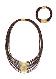 Collier+armband (2-dlg. set), bpc bonprix collection, donkerbruin/goudkleur