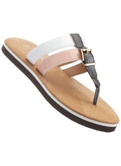 Teenslippers, bpc bonprix collection, donkerbruin/beige/wit