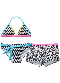 Bikini+bikinibroekje (3-dlg. set), bpc bonprix collection, zwart/wit gedessineerd