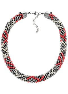 Collier, bpc bonprix collection, zilverkleur/kreeftrood/wolwit