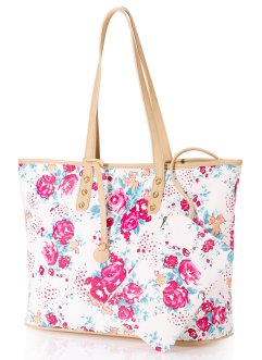 Shopper, bpc bonprix collection, crème gebloemd