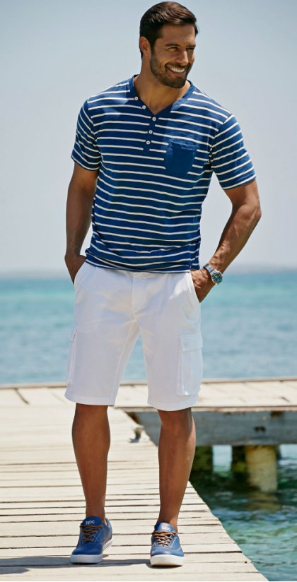 Heren - Cargobermuda loose fit - wit