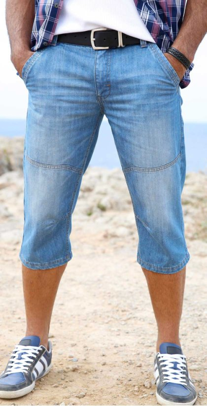 Heren - 3/4-jeans regular fit tapered - blauw