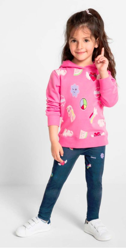 Dames - Sweatshirt - flamingopink gedessineerd
