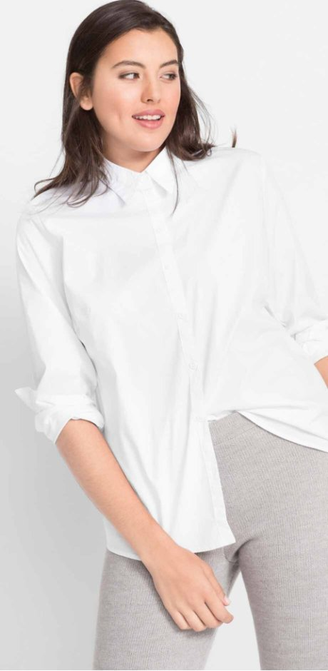 Dames - Stretch blouse, lange mouw - wit