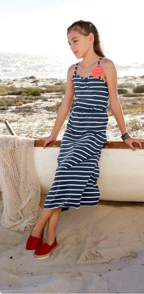 16a049e12aa692 Kinderen - Maxi jurk - donkerblauw wit gestreept
