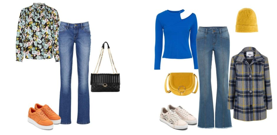 Stories - Stretch jeans met riem, bootcut - blauw