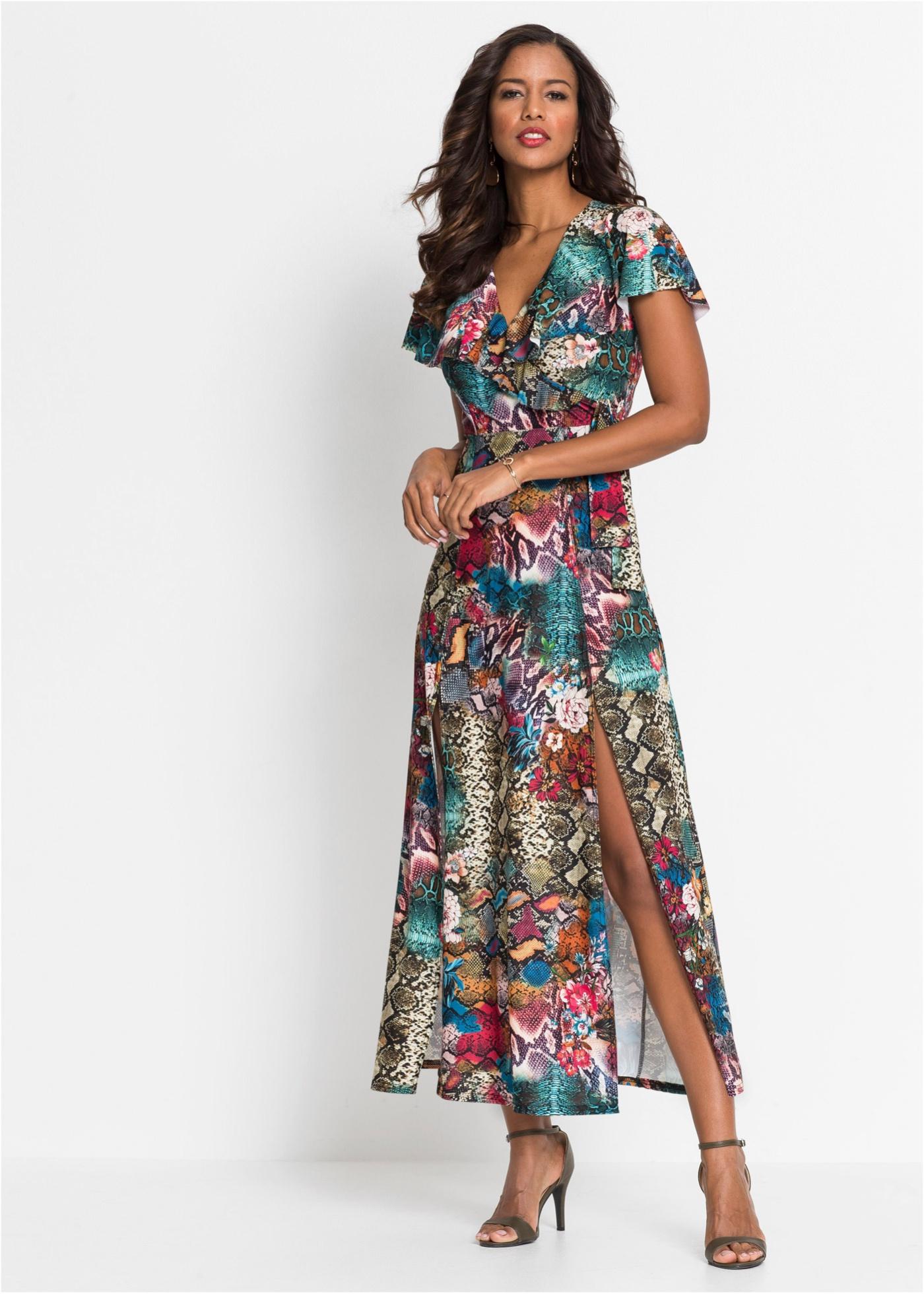 Maxi jurk met slangenprint