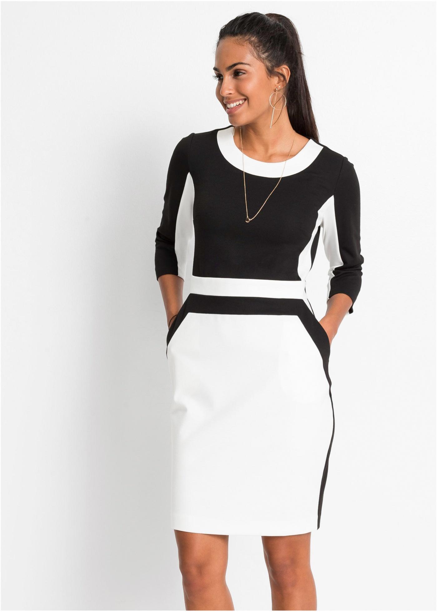 Jersey jurk met 3 4 mouwen, Stijlvolle jurk van zachte, elastische jersey in contrastkleuren. Accentuerend met zakken opzij. Lengte in mt. 40/42 ca. 100 cm.Extra gegevens:Merk: bonprixVoorraad: In StockVerzendkosten: 4.95Maat/Maten: 40,42Levertijd: 7 dagen