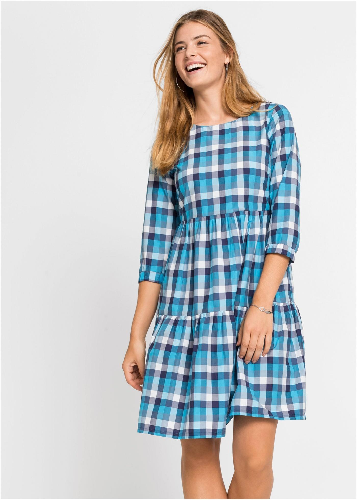 Jersey jurk met ruiten