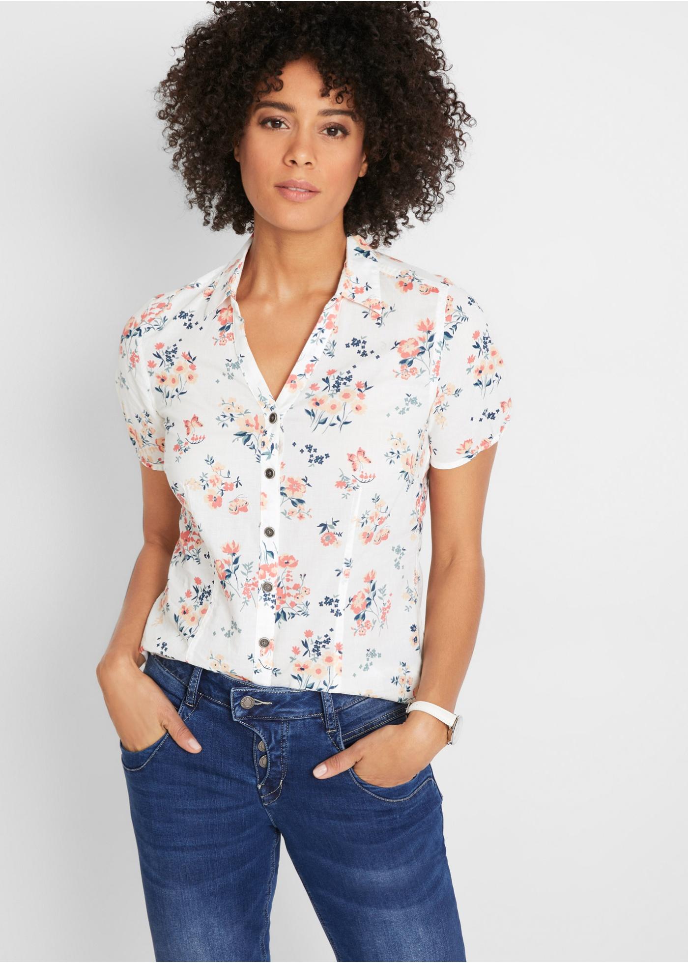 Bonprix Gedessineerde blouse, korte mouw