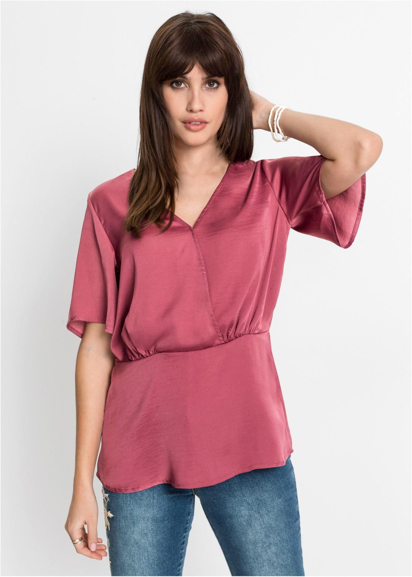 Bonprix Satijnen blouse met drapering