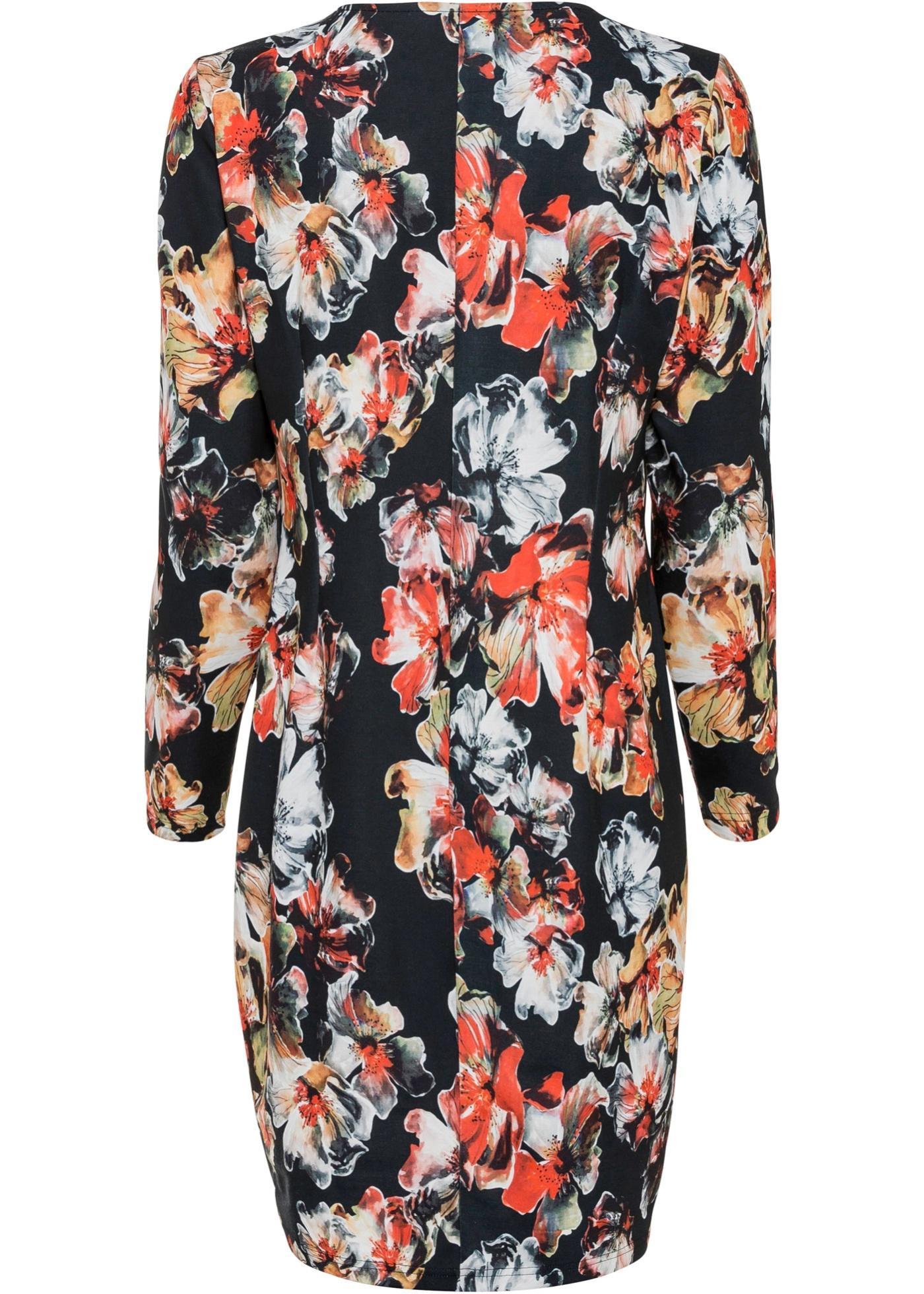 Jersey jurk met print, lange mouw