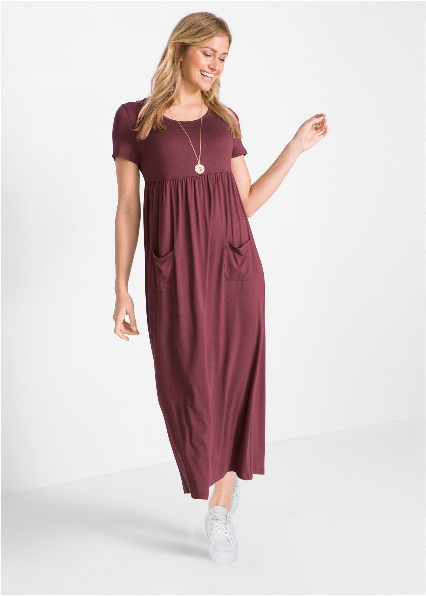 Losjes vallende maxi jurk met een naad in de taille en fijne plooien op het rokdeel. reikt tot op de enkels. ...