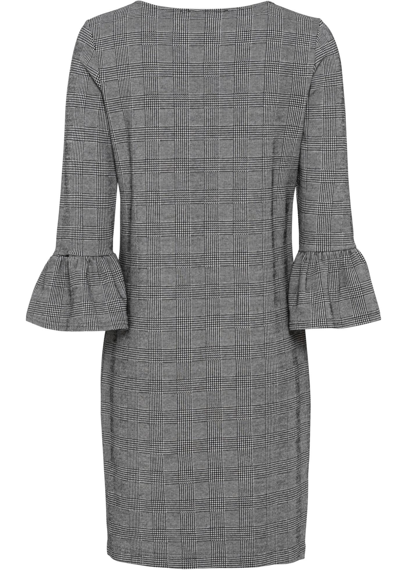Jersey jurk met glencheck, Accentuerende jurk van zachte jersey met een trendy ruitpatroon. De hals is versierd met een staafje. 3/4-mouwen met volant. Lengte in mt. 40/42 ca. 98 cm.Extra gegevens:Merk: bonprixVoorraad: In StockVerzendkosten: 4.95Maat/Maten: 32/34,36/38Levertijd: 7 dagen