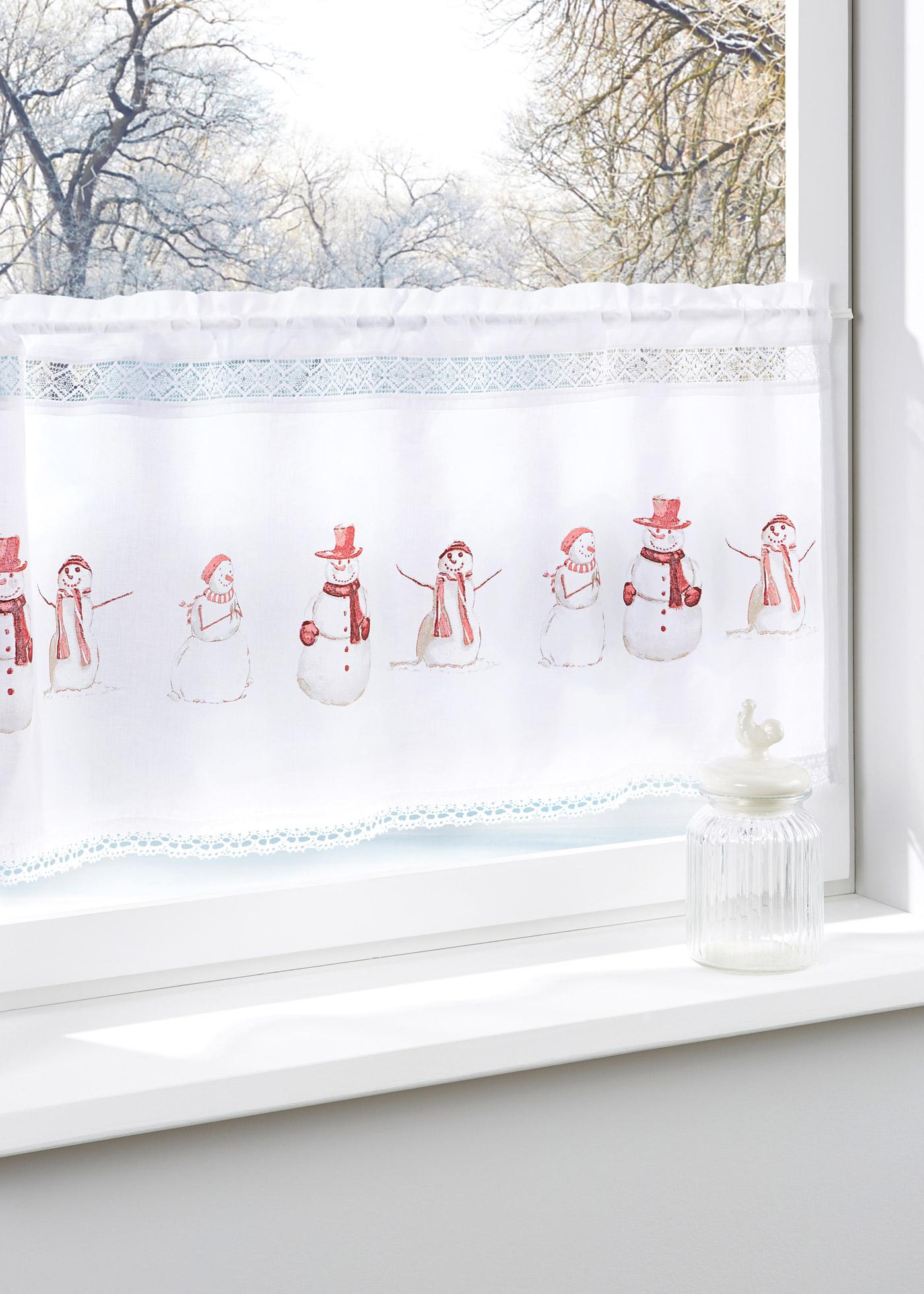 Glasgordijn Sneeuwpop