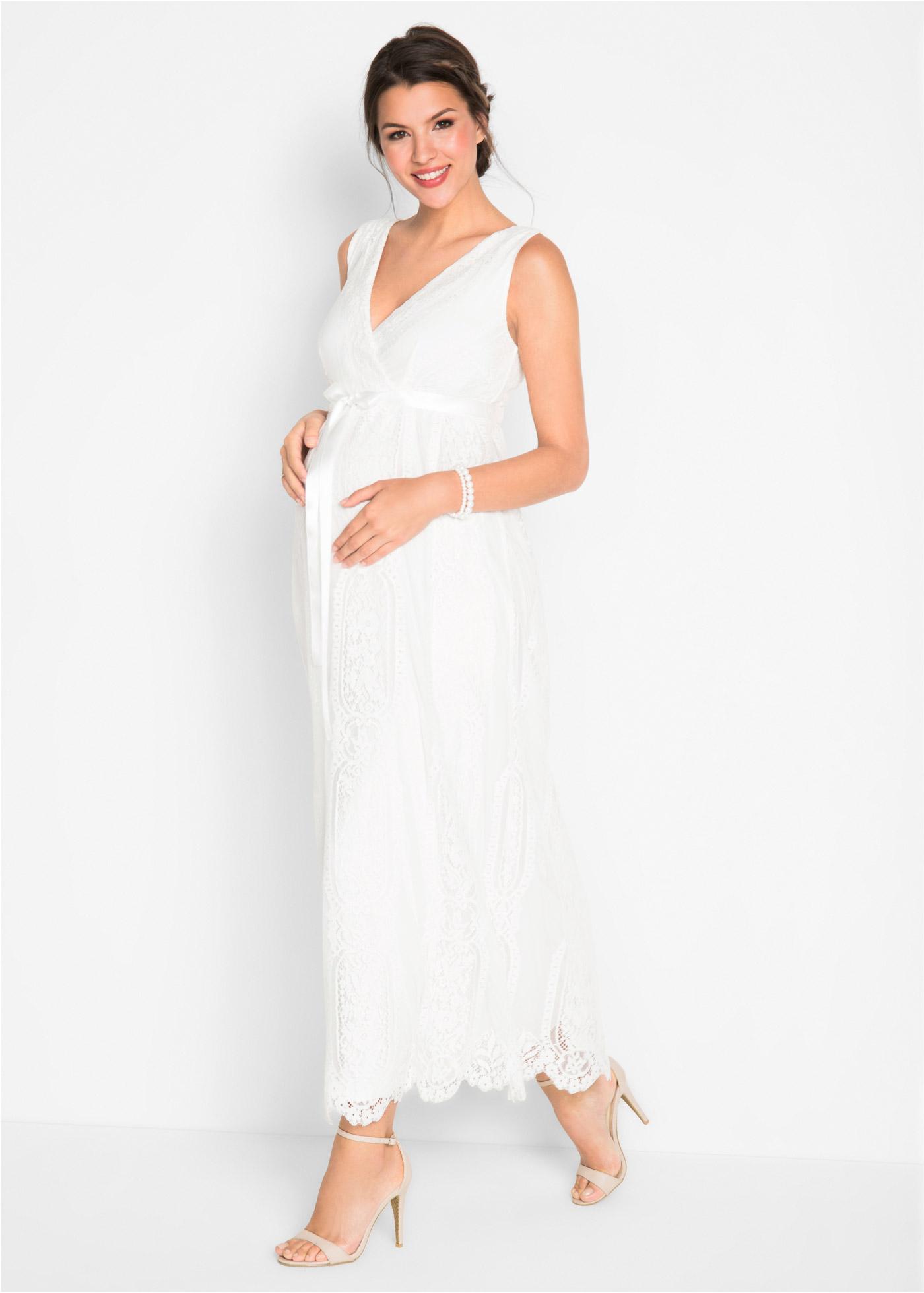 zwangerschaps bruidsjurk in wit uit de collectie van bonprix