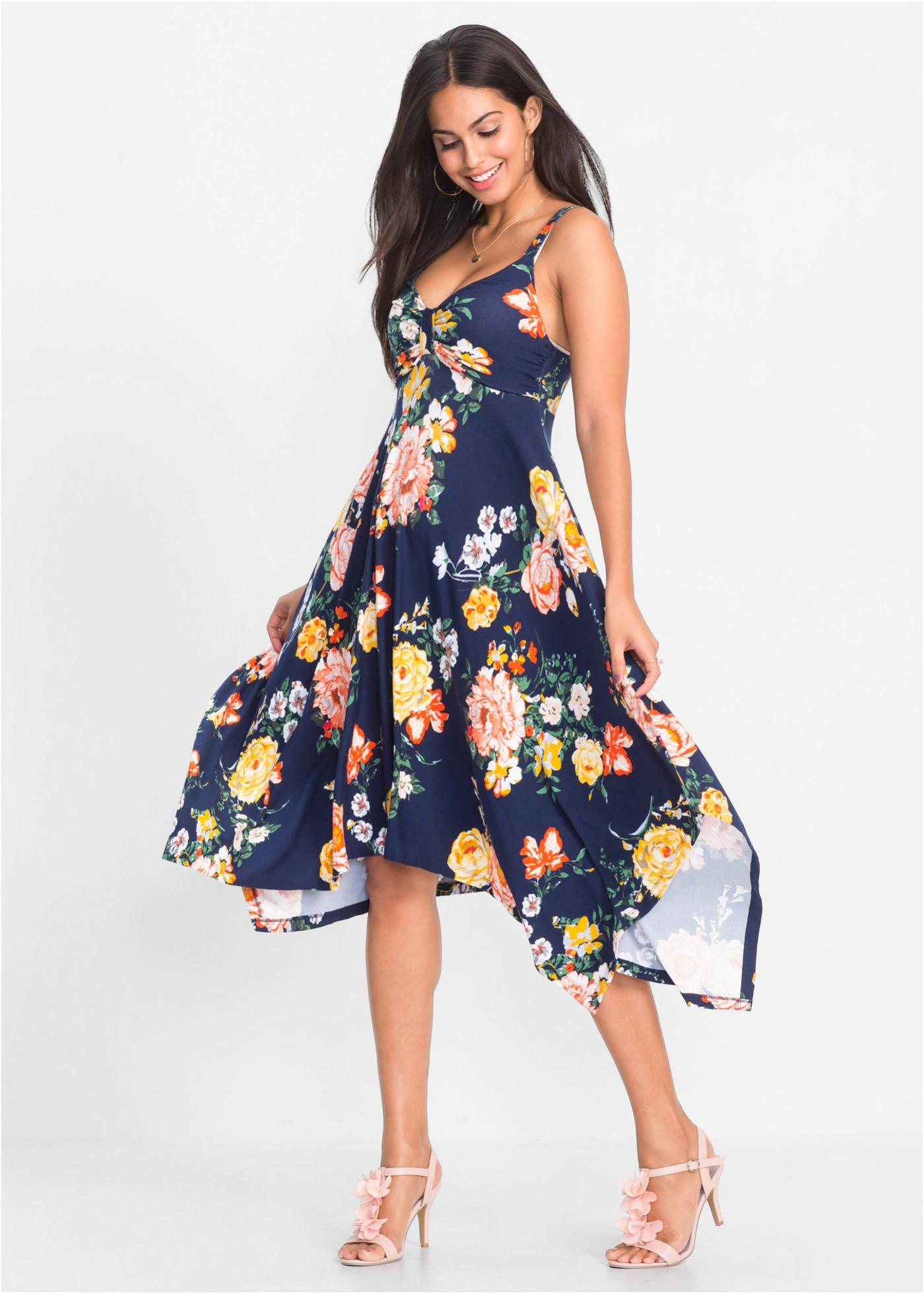 Midi jurk met asymmetrische onderrand