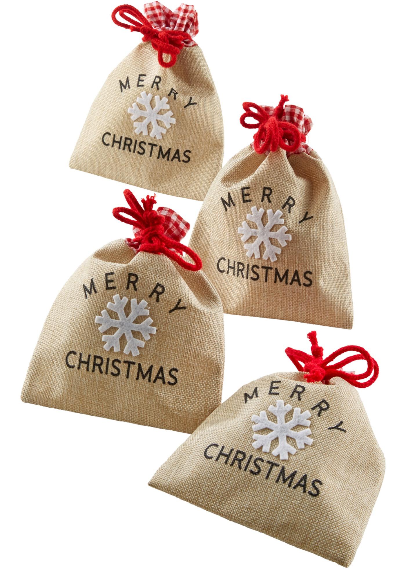 Cadeauzakjes Merry Christmas (set van 4)