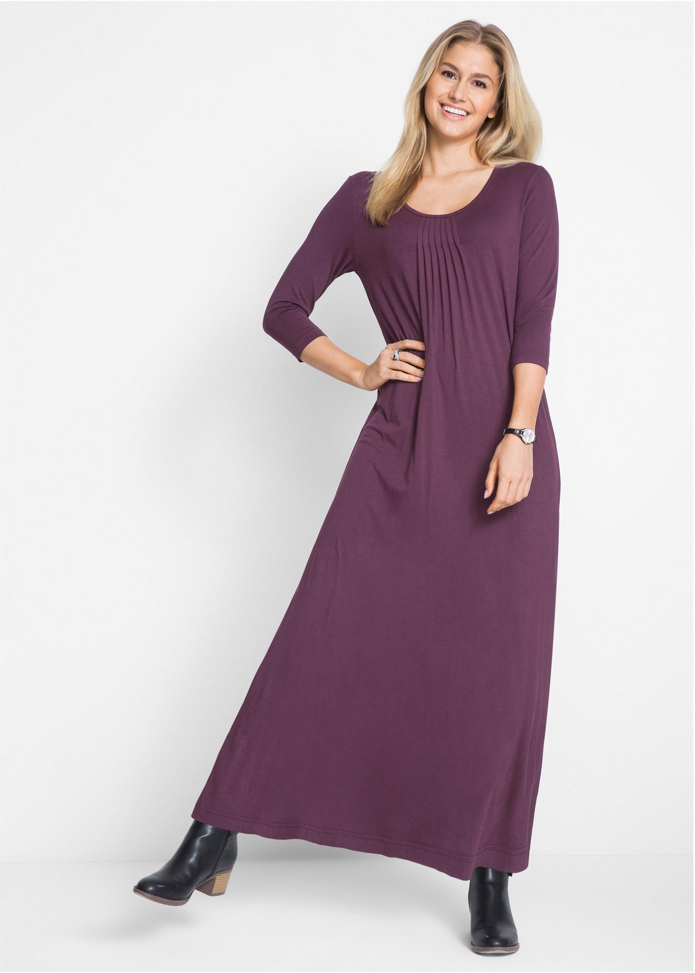 Maxi jurk in A lijn, 3 4 mouw