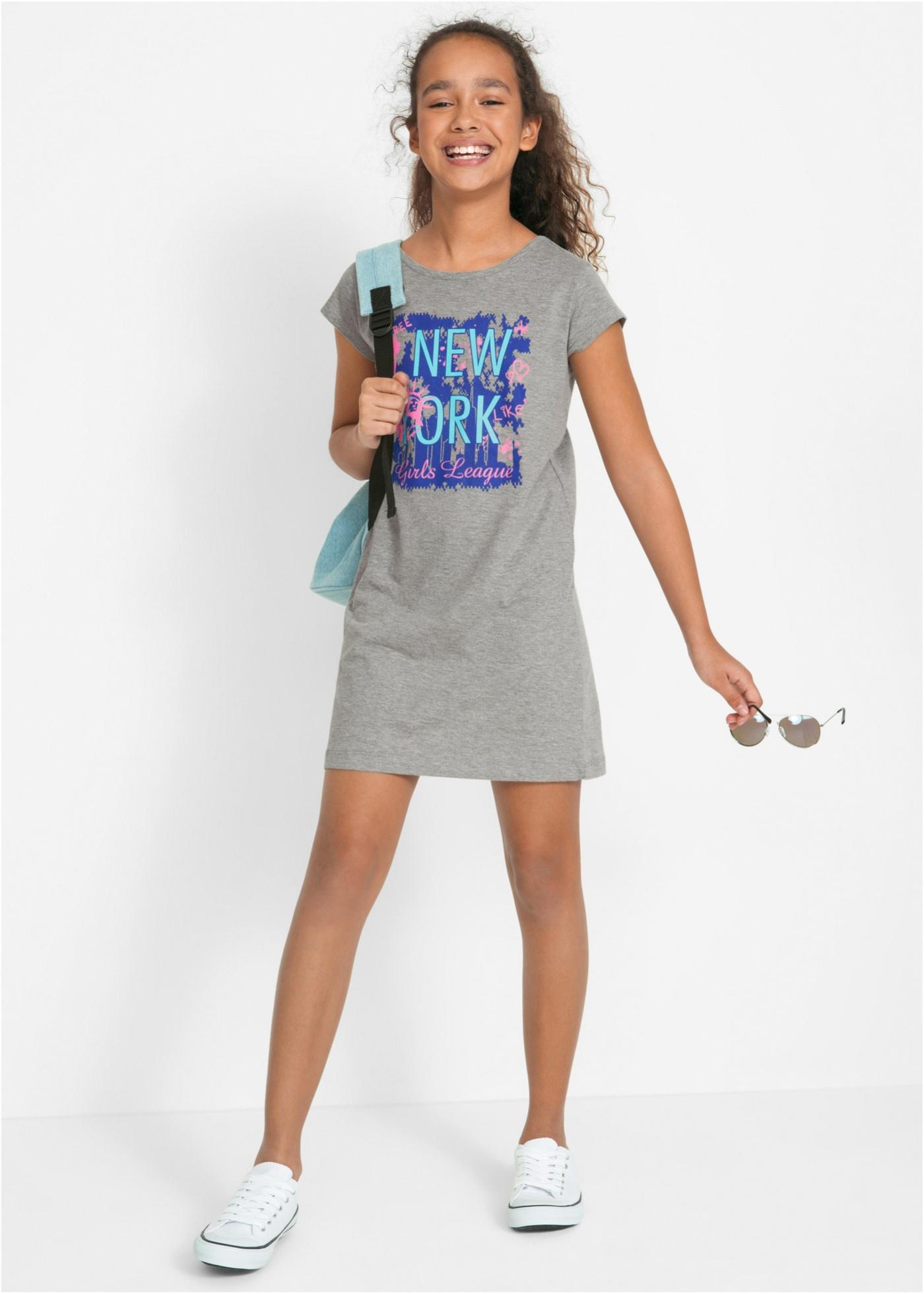 b3afbe780102d8 Zomerse mini jurk van shirtstof met een grote fotoprint voorop. goede  pasvorm met korte mouwen