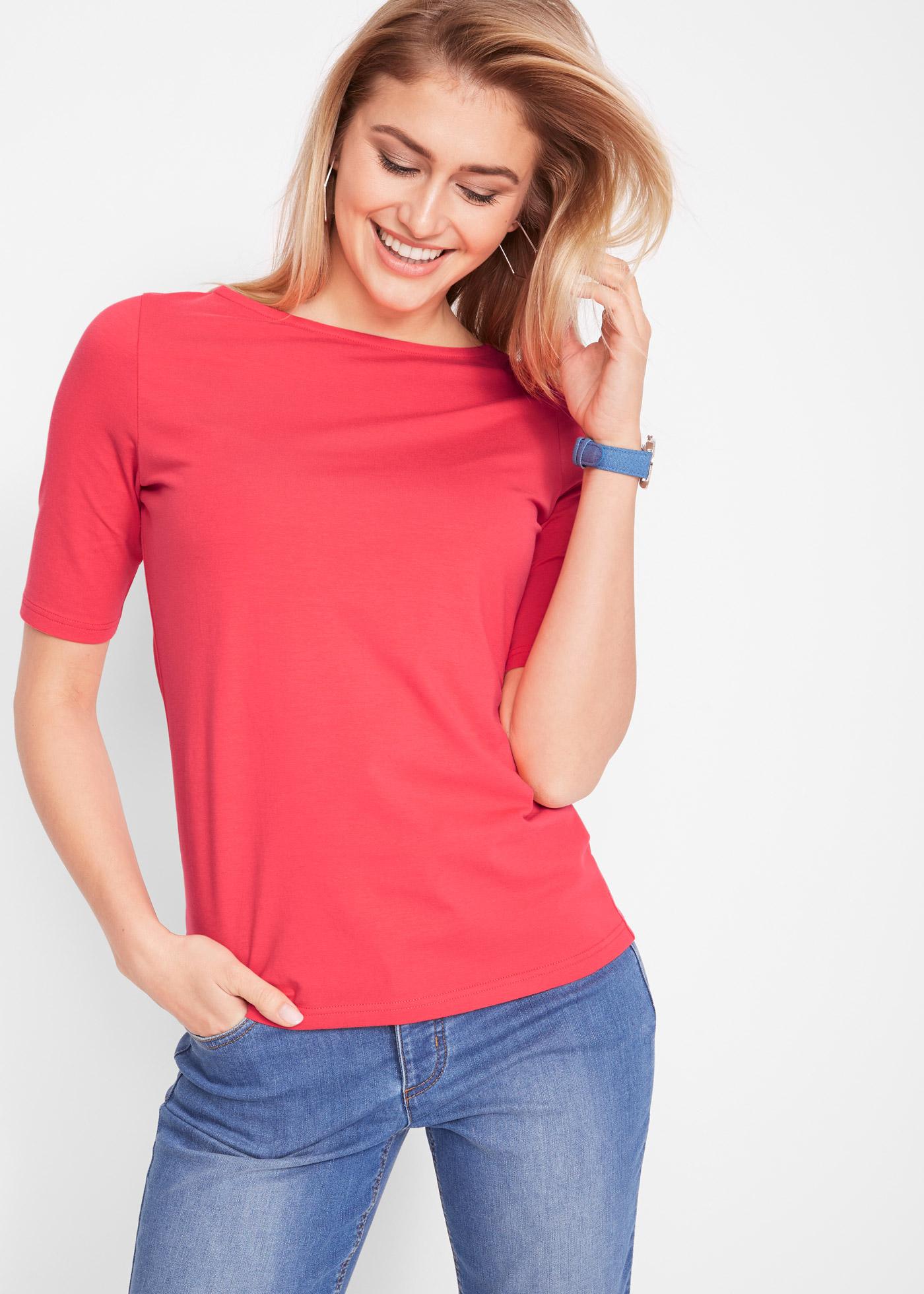 Bonprix Shirt met boothals, halflange mouw