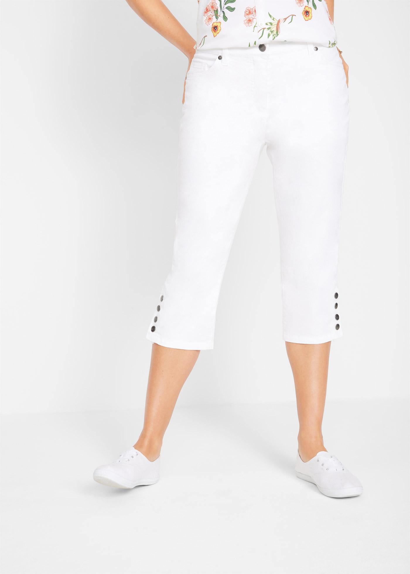 Bonprix Stretch capri met comfortband en knopen