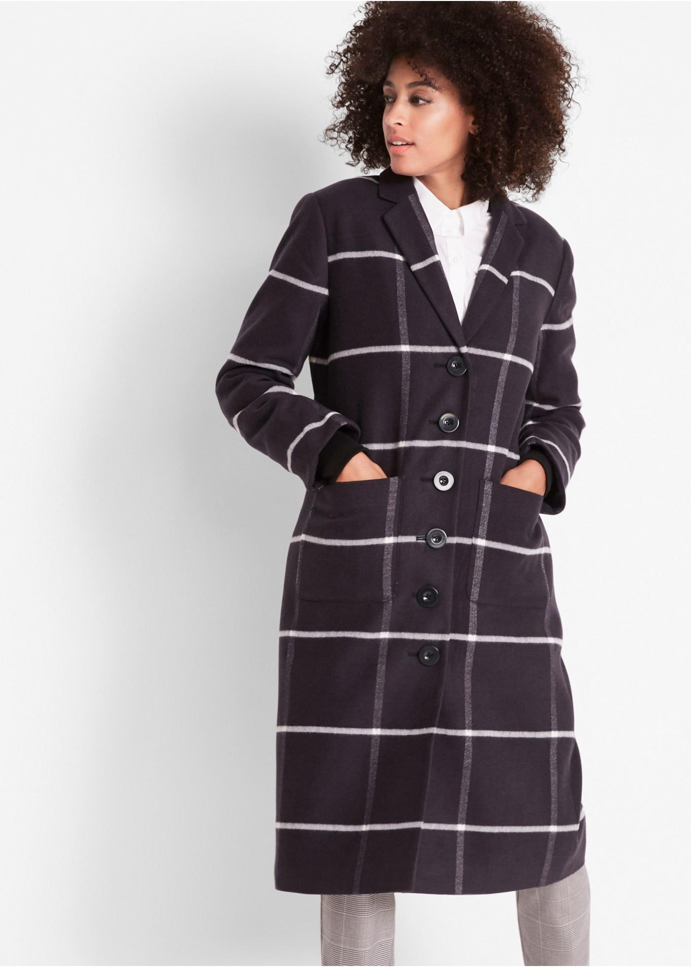 Bonprix Korte coat met ruiten en ribboorden